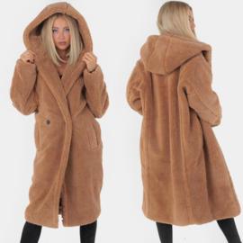 Camel Hooded Teddy Coat