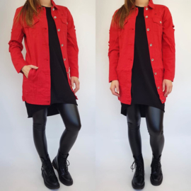 Red distressed denim jacket
