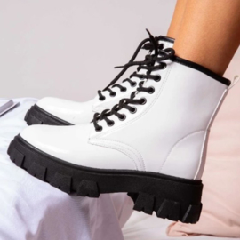 White chunky boots