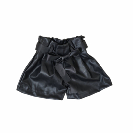 Black bow leatherlook short