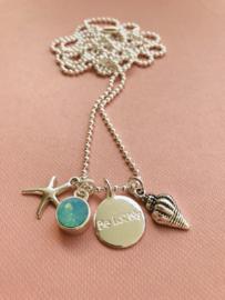 Be Lovely - Zilverkleurige ketting, met mintkleurige swarovski, zeester en schelp
