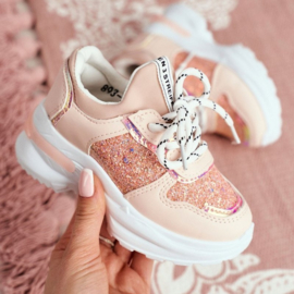 Glittery pink sneakers