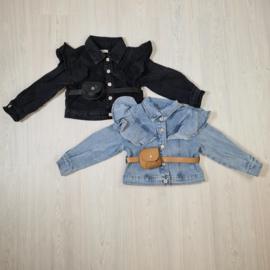 Ruffled denim jacket with a bag