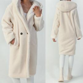 White  Hooded Teddy Coat