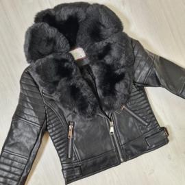 Black furry leather jacket