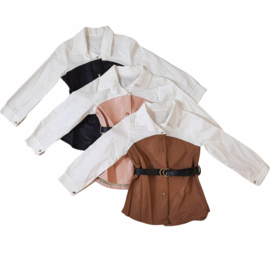 Leather & White blouse