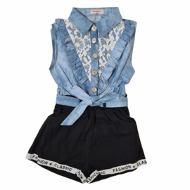 Black, blue & ruffled playsuit