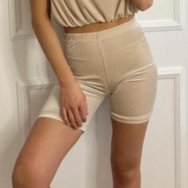 Velvet shorts champagne