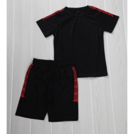 Boys red stripe set