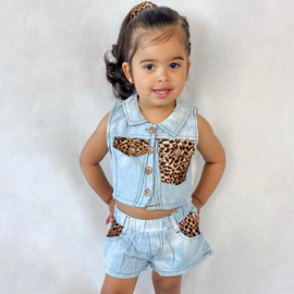 Light blue denim & leopard set