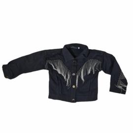 Silver fringe black jacket