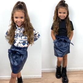 Navy leatherlook skirt