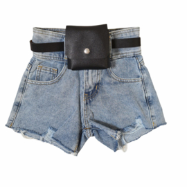 Ripped & bagged blue denim short
