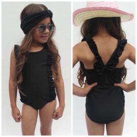 Black ruffled swimsuit