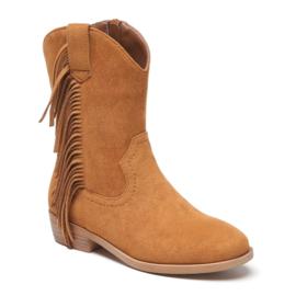 Camel fringe boots