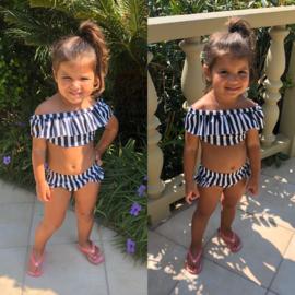 Striped off shoulder bikini
