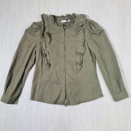 My green ruffled blouse