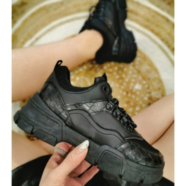 Black croco sneakers