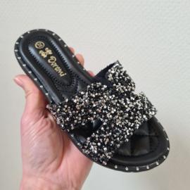 Diamond slippers - black