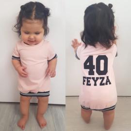 Black/Pink baseball dress shortsleeves (gepersonaliseerd)