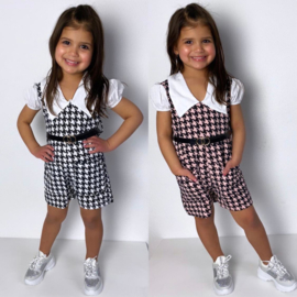 White collar & houndstooth playsuit