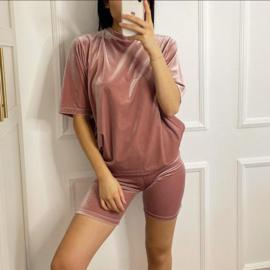 Short Pink Velvet mommy set