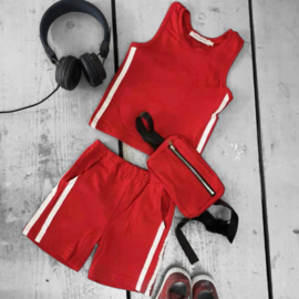 Basic & stripes summer set - red