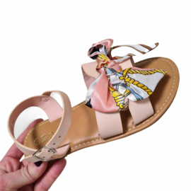 Chained bow sandals - Pink