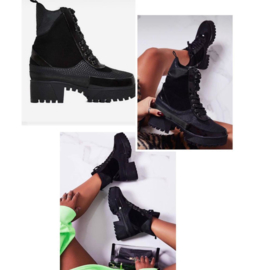 Glossy platform boots