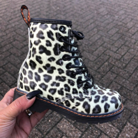Glowy leopard boots - white