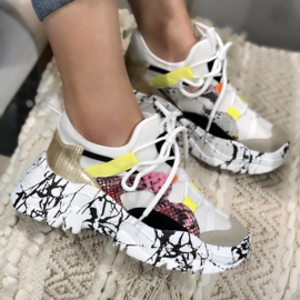 White marble sneakers
