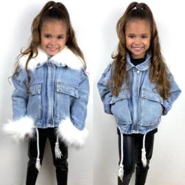 White fur & denim jacket