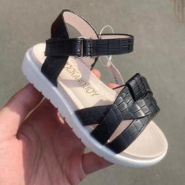 Croco sandals black