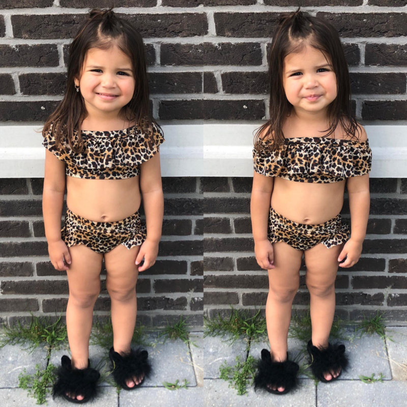 Leopard off shoulder bikini