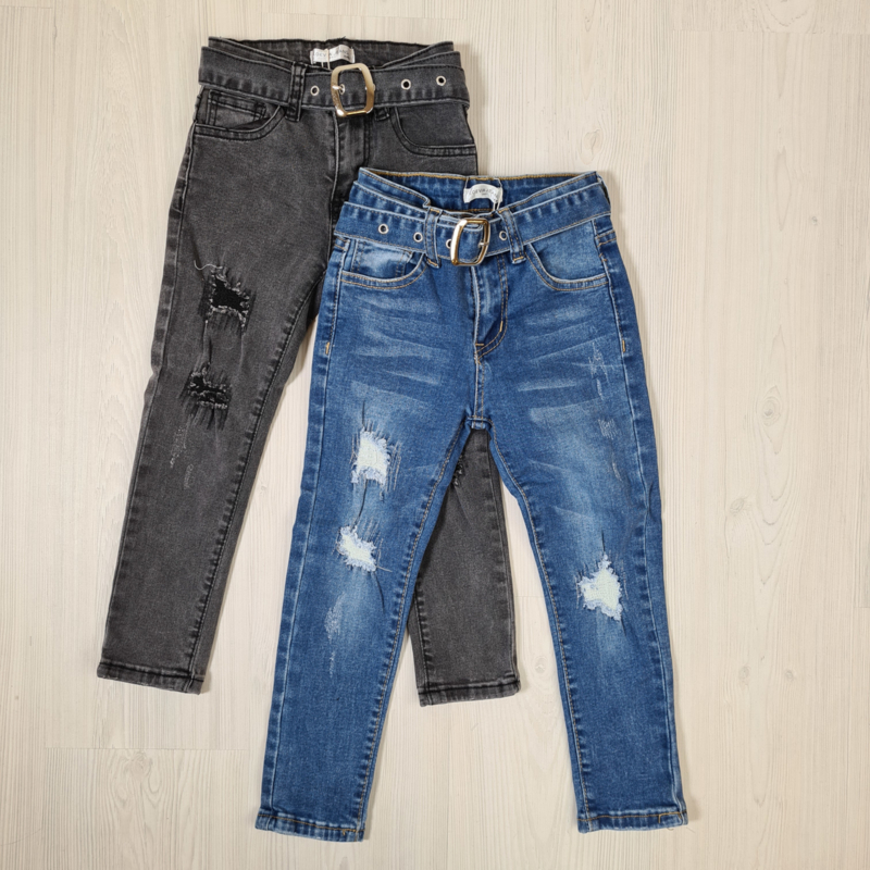 Ripped & belted jeans