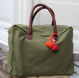 """Weekend Bag, 48H """"Les Belles Vagabondes"""", kaki, met of zonder naam"""