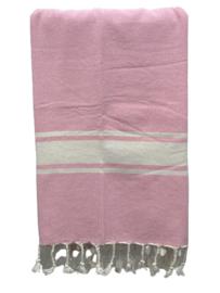 Luxe Hamamdoek/Strandlaken, 1 zijde in badstof, roos, met of zonder naamborduring