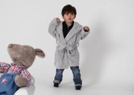 Kinder kamerjas fleece licht grijs 3 & 6 jaar