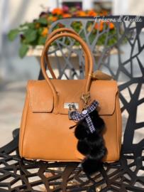 Handtas in 100% leder, cognac kleur, met GRATIS sleutelhanger