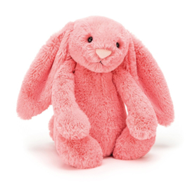 """""""JELLYCAT"""" Bashful Bunny, coral, met of zonder naam"""