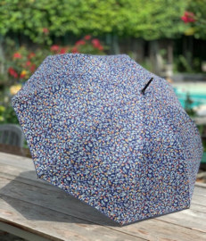 Paraplu, blauwe bloemen, goudkleurig handvat