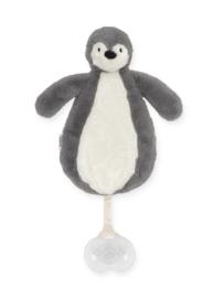 """Speendoekje """"jollein"""" pinguïn grijs, met of zonder naam geborduurd"""