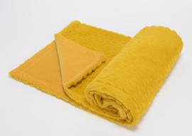 Baby fleecedekentje, mosterd geel, vintage + 1 naam geborduurd