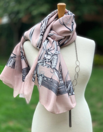 """Sjaal """"Chartage"""", rechthoekig oud roos, 100% silk"""