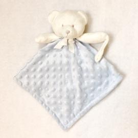 Knuffeldoekje, licht blauw, beer met of zonder naamborduring