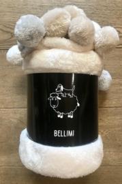 """""""Bellimi"""" Fleecedeken met pompons,130x150, ivoor met of zonder naamborduring"""