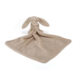 """Knuffeldoekje konijn """"Jellycat"""" taupe + 1 naam geborduurd"""