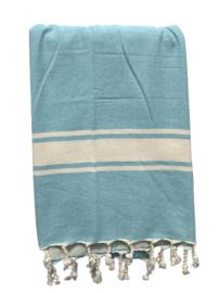 Luxe Hamamdoek/Strandlaken, 1 zijde in badstof, turquoise, met of zonder naamborduring