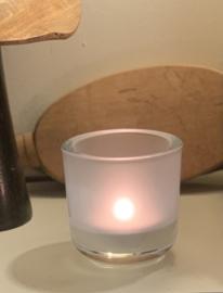 T-lichthouder,  dik glas, mat wit