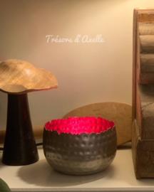 T-lichthouder, metaal, grijs & rood